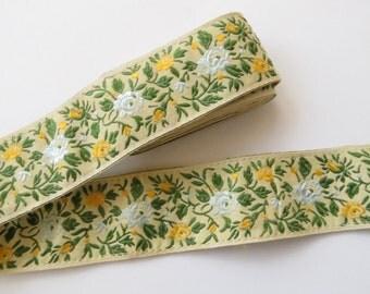 Vintage Jacquard Ribbon Trim - Yellow Blue Roses - Floral