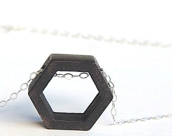 HEXAGON: 3d printed necklace // gunmetal - gold plated - raw steel // geometric hexagon necklace