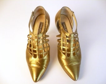 Vintage 90s Shoes, Metallic Gold Pumps, T Strap , Cone Heels, Button Closure, Lattice Design,  Leather, Maud Frizon France, Made in Italy