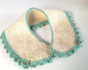 Vintage 1950s Collar, Women's Knit Collar, White, Mint Green, Hand Knit, Angora, Pearl Trim,Picot Edge, Pearly Soft!