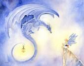 Reserved Listing. Dragon Art Print - Evening Dragon - fantasy. whimsical. fairy. night. fairy tale. lovely. illustration. indigo.