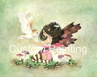 Reserved Listing - Fairy Art Original Watercolor Painting - 11x14