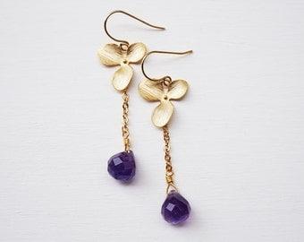 Grape drops earrings - gold filled