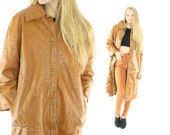 Vintage 70s LANVIN Leather Coat Trench Coat Golden Tan Coat 1970s Fall Winter Outerwear Fashion Medium M Large L Spy Overcoat