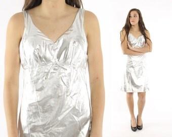 Vintage 60s Silver Mini Dress Space Age Dress Mod Mini Dress Gogo Dress Sleeveless Mini Dress 1960s Medium M Metallic Mini Dress Miss Finale