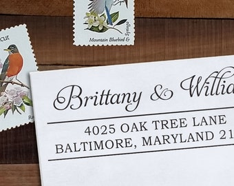 Custom Address Stamp, Personalized Address Stamp, Calligraphy Stamp, DIY, Romantic Wedding Address Stamp, Eco Mount or Self Inking- Brittany