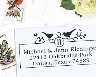 Custom Address Stamp, Return Address Stamp, Wedding address stamp, Self inking or Eco Mount stamp - Two Birds in Love Square