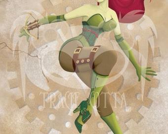 Steampunk Poison Ivy Canvas Giclee