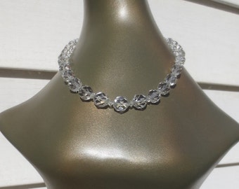 Vintage 1940's-1950's Faceted Crystal Necklace/Choker w/Sterling Clasp & Chain - GORGEOUS!
