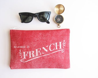 French Hillbilly Simple Zipper Pouch Makeup Bag Smartphone Purse Funny Southern Redneck Festival Accessories Made in Nashville USA Wholesale