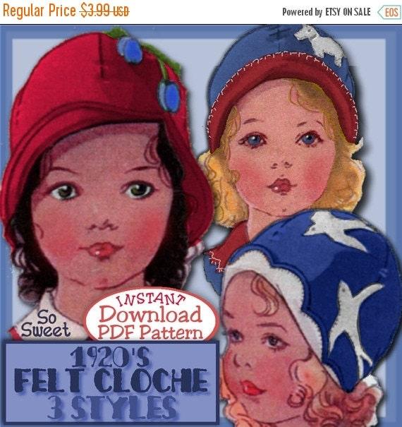 SALE Sweetest Toddler's 1920's FELT Cloche Hat e-pattern FLAPPER Era  3 Styles Pdf Vintage e-pattern