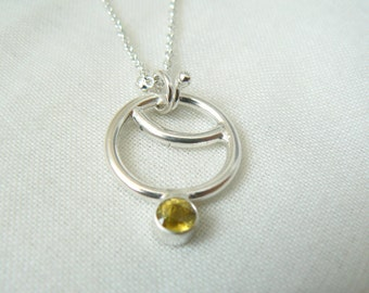 Sterling silver and 4 mm round Sphene Pendant with chain - READY TO SHIP