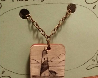 Scrimshaw Necklace Striped Lighthouse OOAK Great Gift Idea