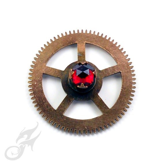 STEAMPUNK Clock Gear Tack Pin  ~ Brass w/ Prong-Set Vintage Red Rose Cut Rhinestone ~ Two Posts ~ For Hat, Lapel or Jacket ~ #Pin0073 by RTD