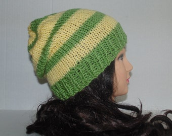 Slouchy Beanie Hat, Sage Green and Light Yellow Striped Hat