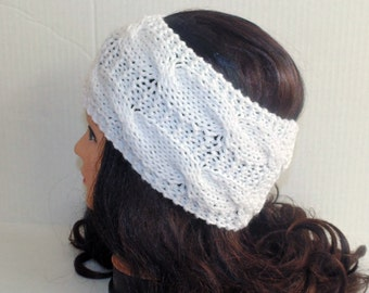 White Woman's Knitted Headband, Cable Knit Head Band, White Ear Warmer, Wide Headband