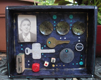 Mixed media assemblage, frankenjunk art, recycled home decor, shadow box