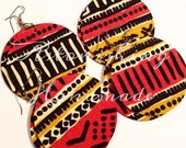 Tribal Happiness Circle Fabric Large Earrings