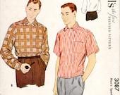 1950s Mens Shirt - McCalls 3087 Vintage Pattern - Size Medium Chest 38-40 UNCUT FF