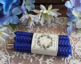 6 Cobalt Blue candles, Mini Beeswax , Chime Candles