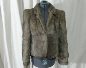 Vintage 70s 80s Natural Tipped Brown Genuine Rabbit Fur Short Crop Jacket Coat Medium