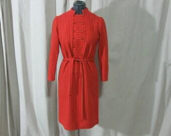 Vintage 50s 60s Minx Modes Orange White Stripe Belted Wool Dress Small