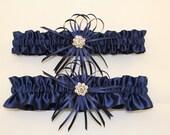Navy Blue Satin Wedding Garter Set with  Rhinestone Charms  Navy Blue Bridal Garter Set