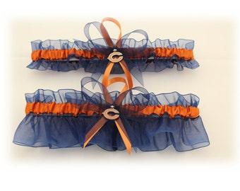 Chicago Bears Inspired Wedding Garter Set with Charms, Bridal Garter, Prom Garter  (Your Choice, Single or Set)