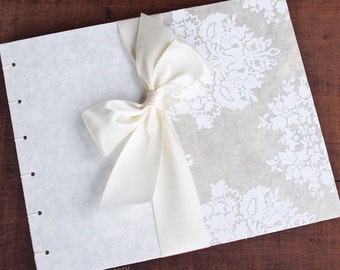 Elegant Wedding Guest Book, Ivory and White Damask, {MADE upon ORDER}