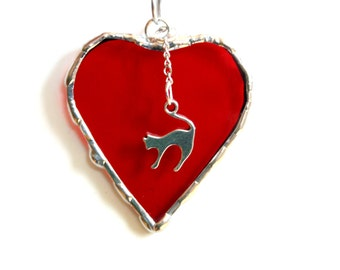 I love my cat, Stained glass heart suncatcher ornament, red heart ornament, mini heart, cat lover gift under 15