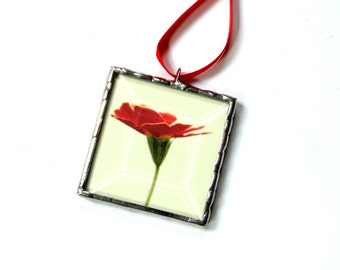 Red flower ornament, stained glass ornament, gardener gift under 20, gift for her, Summer home decor, small wall art, made in USA