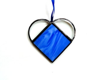 Stained glass sapphire blue heart suncatcher, gift under 15,  Mothers day gift, love romance, hanging heart, glass heart classic blue