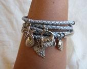 Silver Braided Leather Bracelet Set