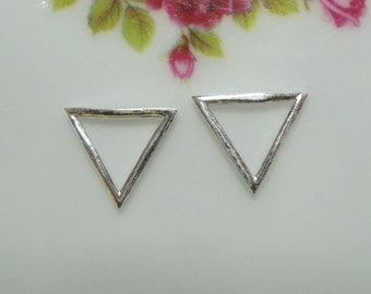 4 pcs, 10x10x10mm - 925 Sterling Silver Triangle Pendant Charm, PC-0072