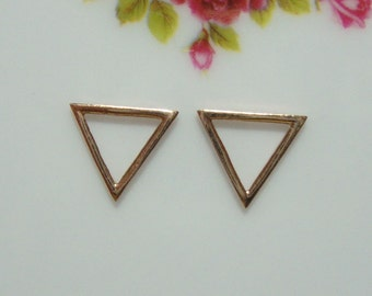 bulk 20 pcs, 10x10x10mm -  Rose Gold over 925 Sterling Silver Open Work Triangle Pendant Charm - PC-0072