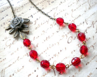 Red Jewelry Grey Rose Necklace Red Necklace Leaf Necklace Flower Necklace Tree Branch Necklace Red Glass Necklace Leaf Jewelry Grey Necklace