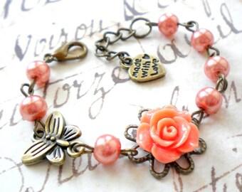 Flower Girl Gift Bracelet Orange Bracelet Gift For Kid Pearl Children Jewelry Gift For Little Girls Butterfly Bracelet Pearl Jewelry
