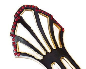 Art Deco Hair Comb, Celluloid, Rhinestone, Red Black, Decorative Comb, Chignon, Antique Accessories
