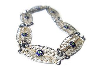 Silver Filigree Bracelet, Enamel, Cannetille, Spain Spanish, Shooting Star, 750 Silver, Vintage Jewelry