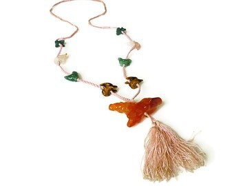 Chinese Necklace, Zodiac Necklace, Carnelian, Jade, Tigers Eye, Rose Quartz, Pink Silk, Vintage Jewelry