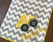 Personalized Baby Blanket- Minky Baby Blanket- Chevron Minky Blanket- Dump Truck Baby Blanket