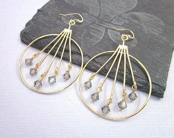 Crystal Bead Hoop Earrings -- Grey Crystal Earrings -- Gold Fan Earrings -- Black Diamond Hoops -- Beaded Hoops -- Stick Hoops