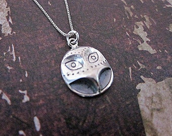 Silver Owl Necklace -- Sterling Owl Necklace -- Bird Layering Necklace -- Tiny Silver Bird Necklace -- Wise Owl Necklace --Owl Face Necklace