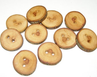 "10 Handmade apple wood Tree Branch Buttons with Bark, accessories (1,1"" diameter x 0,20"" thick)"