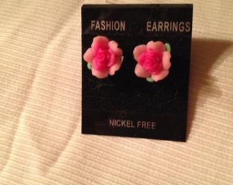 Handmade Pink Rose Earring