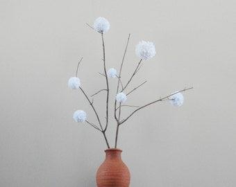 White Pom Pom Flowers - Rustic Country Wedding Decor - Baby Shower Decor - Simple Minimalist Centerpiece - Nursery Decor - Natural Twigs