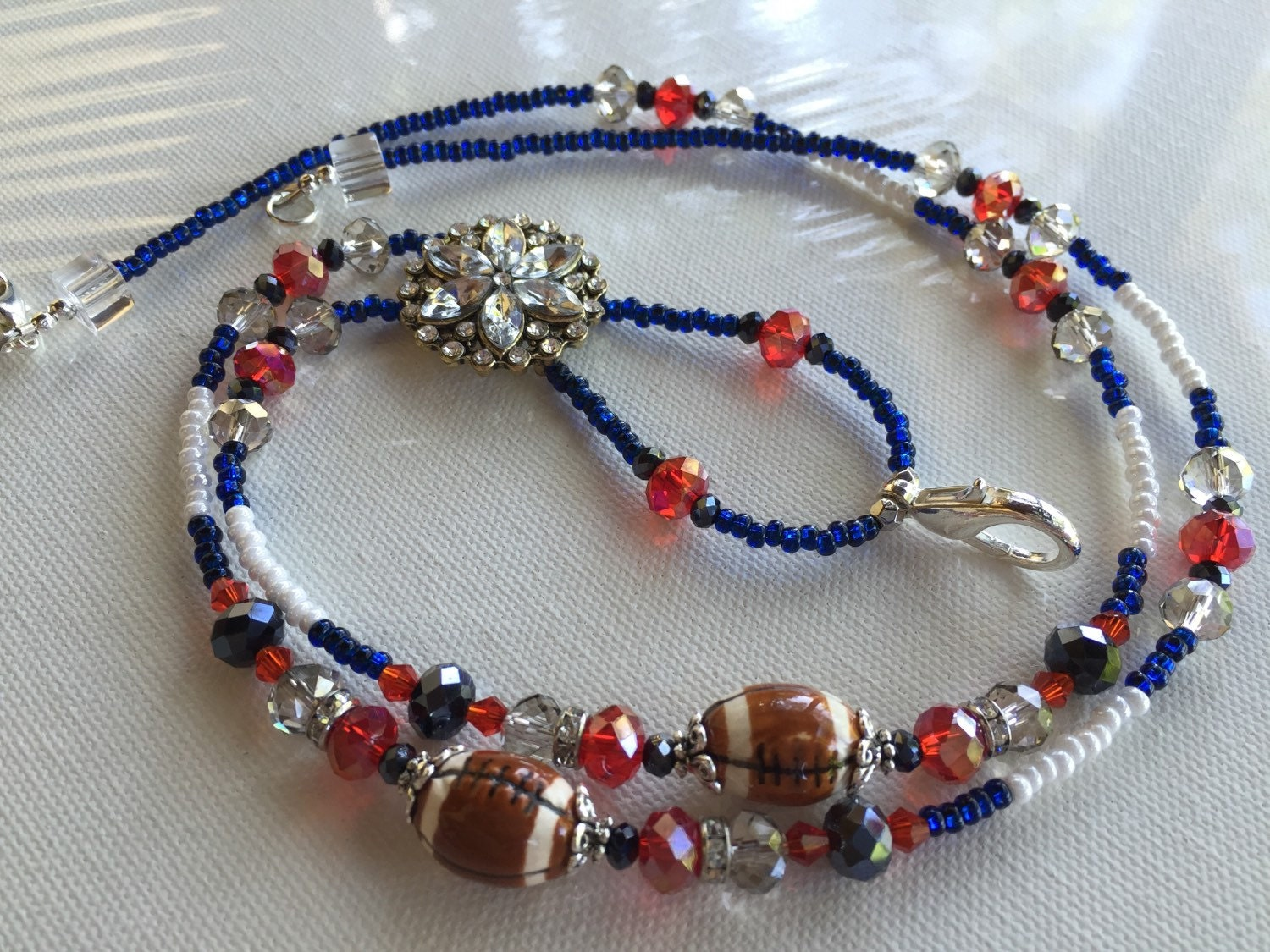 Beaded Lanyard New England Patriots 2 Football ID by BlackCatGlass