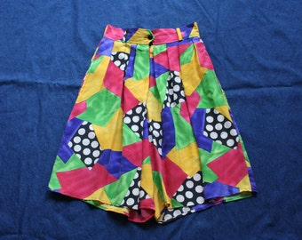 80s Printed Shorts / High Waist Silk Shorts / Punky Brewster / Babysitters Club / Colors and Shapes shorts /Elastic Waist Basic Shorts / NWT