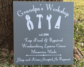 Garage Sign ~ Grandpa's Workshop Sign ~ Personalized Grandfather Gift ~ Tool Sign ~Gifts For Grandpa ~Grandpa Father's Day ~Custom Wood Sign