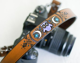 Custom Leather Camera Strap -Owls and Crescent Moon - Personalized Celestial - Handmade & Handpainted - Made to Order by Mesa Dreams
